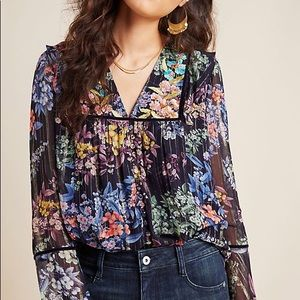 NWT Anthropologie Vivienne Embroidered Blouse